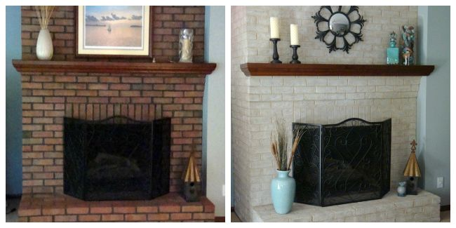 painting brick fireplace before and after fireplace decorating use brick fireplace paint to. Black Bedroom Furniture Sets. Home Design Ideas