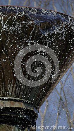 Closeup of a decorative water fountain in Rosenborg Castle garden in Copenhagen, Denmark.