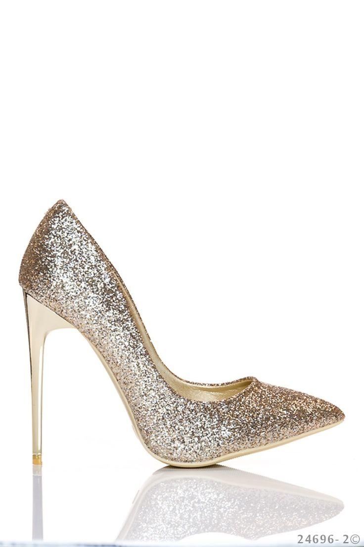 Pantofi Sparkle Dazzle Gold. Pantofi cu sclipici din piele ecologica. Inaltimea tocului este de 11 cm iar varful este usor ascutit. Alege-i cu incredere pentru a completa o tinuta eleganta simpla.