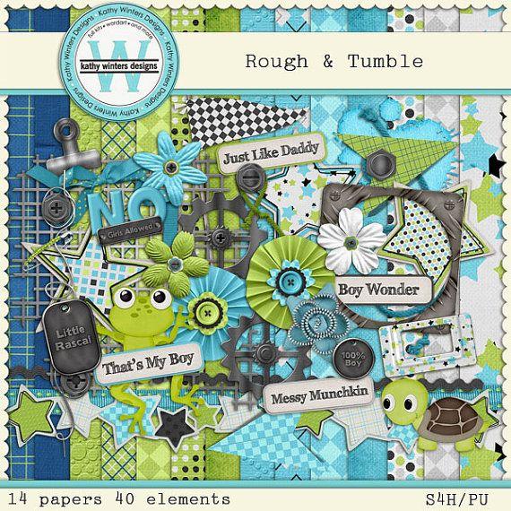 Rough & Tumble Digital Scrapbooking Kit by KWintersDesigns on Etsy