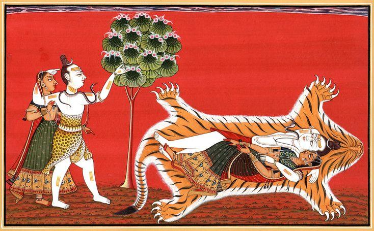 Shiva Parvati in Basholi Style