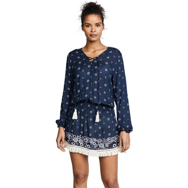 coolchange Eden Tunic ($265) ❤ liked on Polyvore featuring tops, tunics, baltic, long sleeve tunic, laced up top, slouchy long sleeve top, floral tops and blue tunic