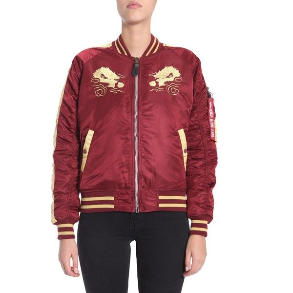 Dragon Bomber Jacket ($165) ❤ liked on Polyvore featuring outerwear, jackets, bordeaux, pocket jacket, striped bomber jacket, alpha industries jacket, dragon embroidered jacket and red jacket
