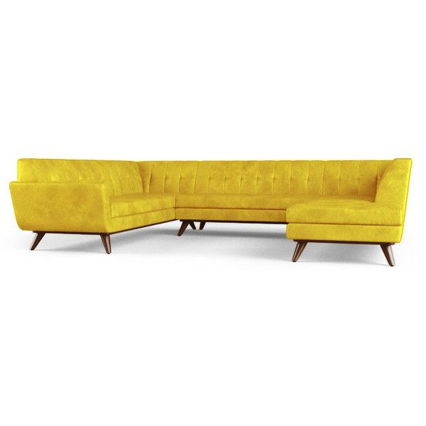 Lazy Boy Sofa  liked on Polyvore featuring home furniture sofas yellow yellow sofa mid century modern couch mid century couch mid century leather couch