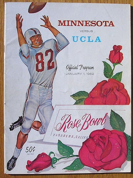 The 1962 Rose Bowl game on NBC is the first coast-to-coast color television broadcast of a college football game in the United States. The Minnesota Golden Gophers defeated the UCLA Bruins, 21–3.