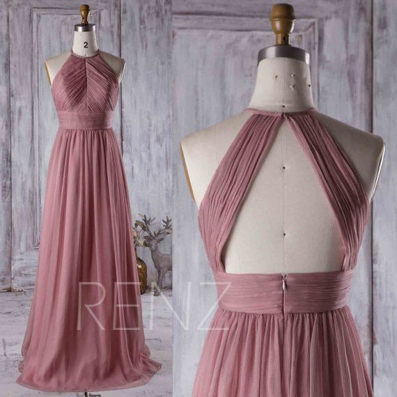 2017 Dusty Thistle Bridesmaid Dress Ruched Chiffon High Neck