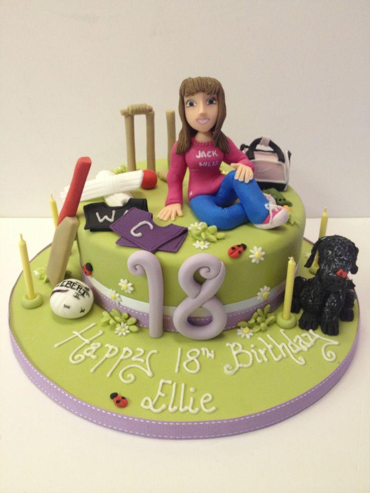 Girls Multi Interest 18th Birthday Cake Netball Cricket