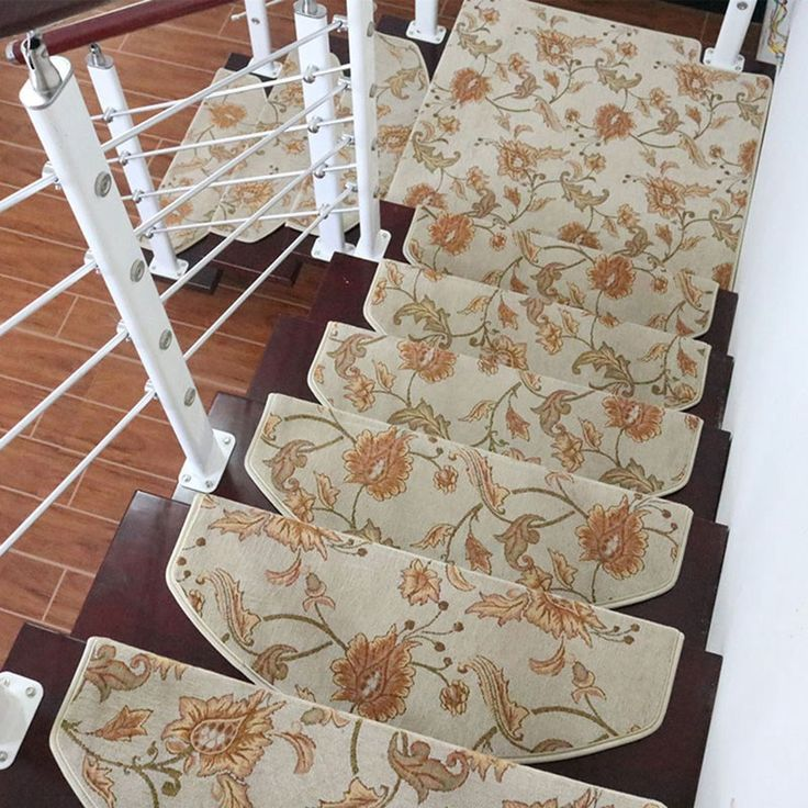 Hot Selling Elegant Flower Stair Mat Non-Slip Floor Staircase Carpets Stair Treads Protector Mats Stair Step Rug 1Piece   #Affiliate