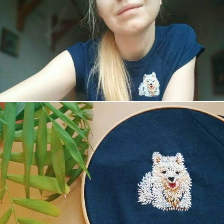 """Embroidery with samoyed. Вышивка """"Самоед"""""""
