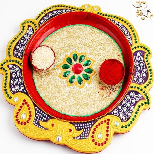 Yellow Peacock Pooja Thali with 1000 gms Kaju katli - Online Shopping for Diwali Pooja Accessories by Ghasitaram Gifts