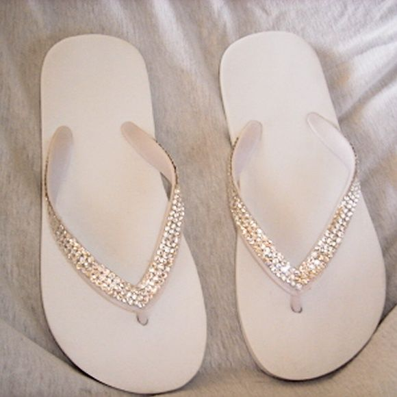 ivory wedding flip flops, wedding beach sandals, wedding flip flops