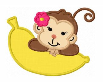 Monkey With Banana Applique Machine by LovelyStitchesDesign