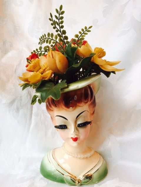 Vintage Ceramic Lady Head Vase Planter Bust with by OffbeatAvenue