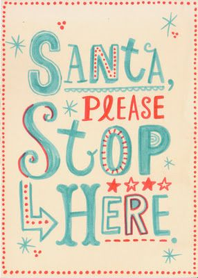 Christmas Prints from Linzie Hunter, christmas, holiday, winter, santa, santa please stop here, art, artist, lettering, linze hunter, blue and red, blue, red