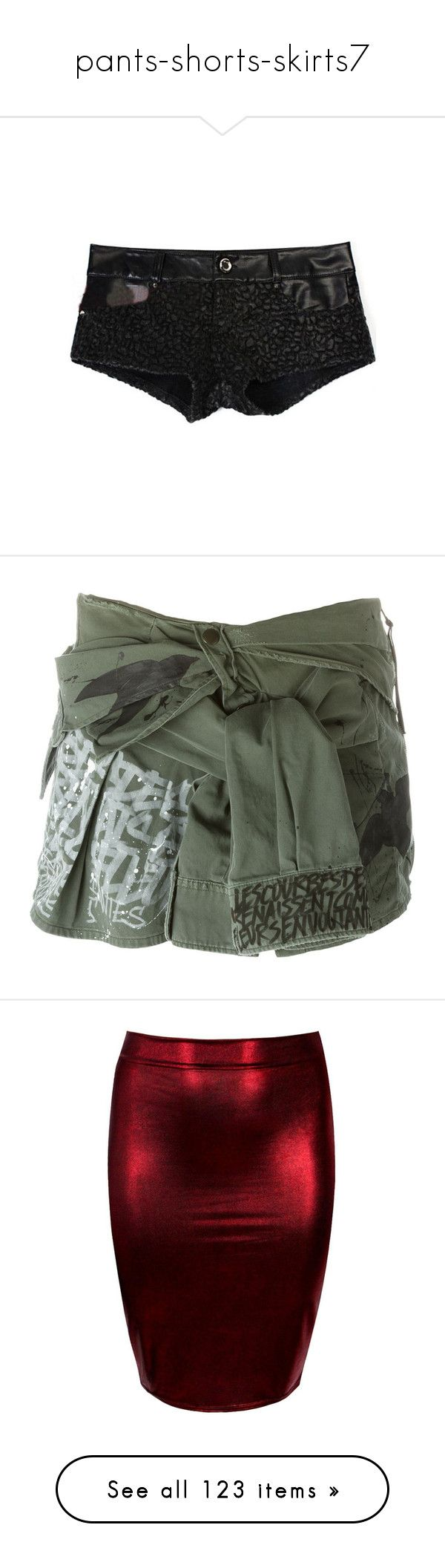 """""""pants-shorts-skirts7"""" by harlie-timmons ❤ liked on Polyvore featuring shorts, pleather shorts, leopard print shorts, leatherette shorts, short shorts, pocket shorts, skirts, mini skirts, green and green cotton skirt"""