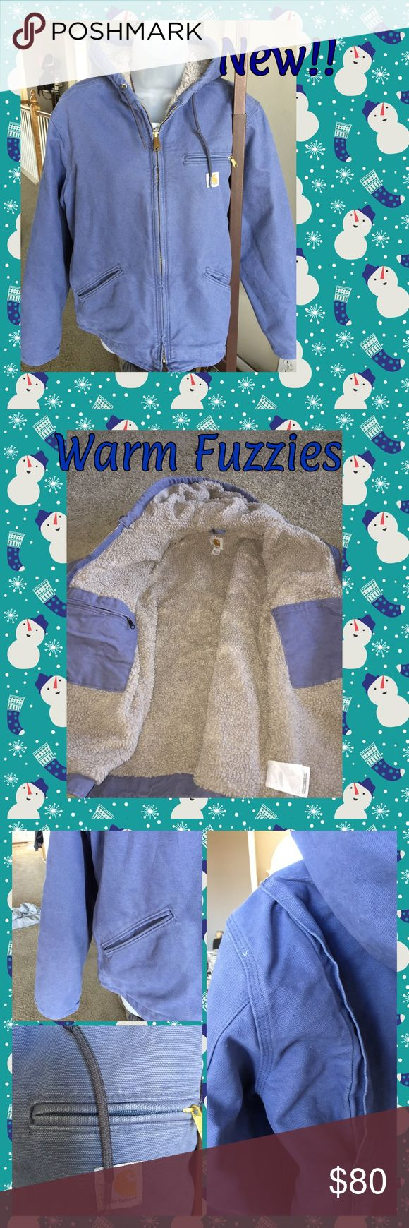 Periwinkle Blue Ladies Carhartt Coat If you're familiar with Carhartt Coats, you know they are the warmest coats in work or casual wear. Heavy cotton outer shell and warm tan sheep skin-like materials inside. Perfect Christmas gift for the gal that loves the outdoors but, likes to still keep it a tad feminine. Large hood with zip up front and pockets inside and out💙More details to come. Ask any questions before purchasing that you may have Carhartt Jackets & Coats