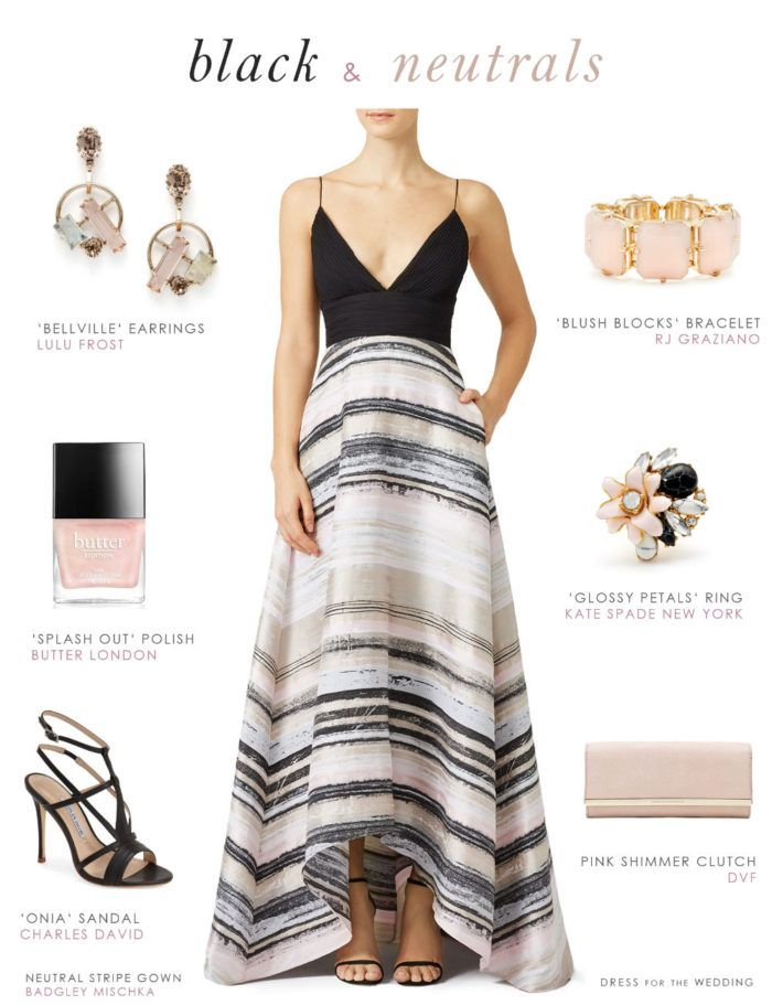 Black And Neutral Striped Gown Dresses For Wedding Guestsdress