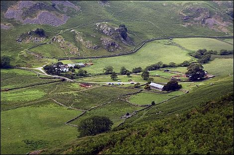 The Martindale Skyline, Looking down on St Martin's Church and Christy Bridge in Martindale England