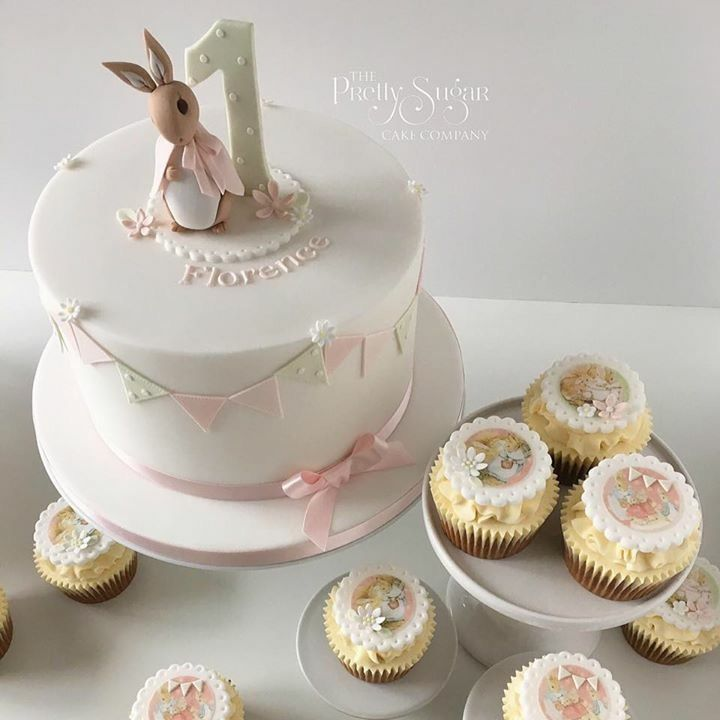 Beatrix Potter Flopsy Bunny first birthday cake and cupcakes