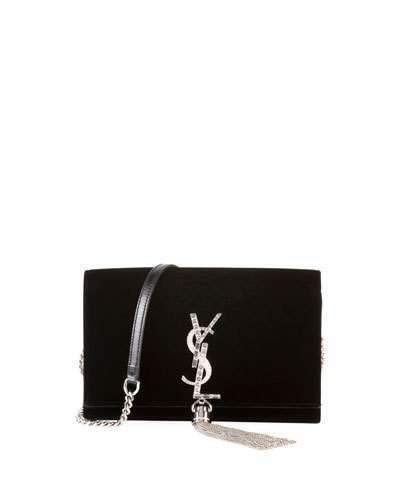 Kate Toy Small Crystal-Monogram YSL Tassel Velvet Wallet on a Chain ... f5a5dd1c44