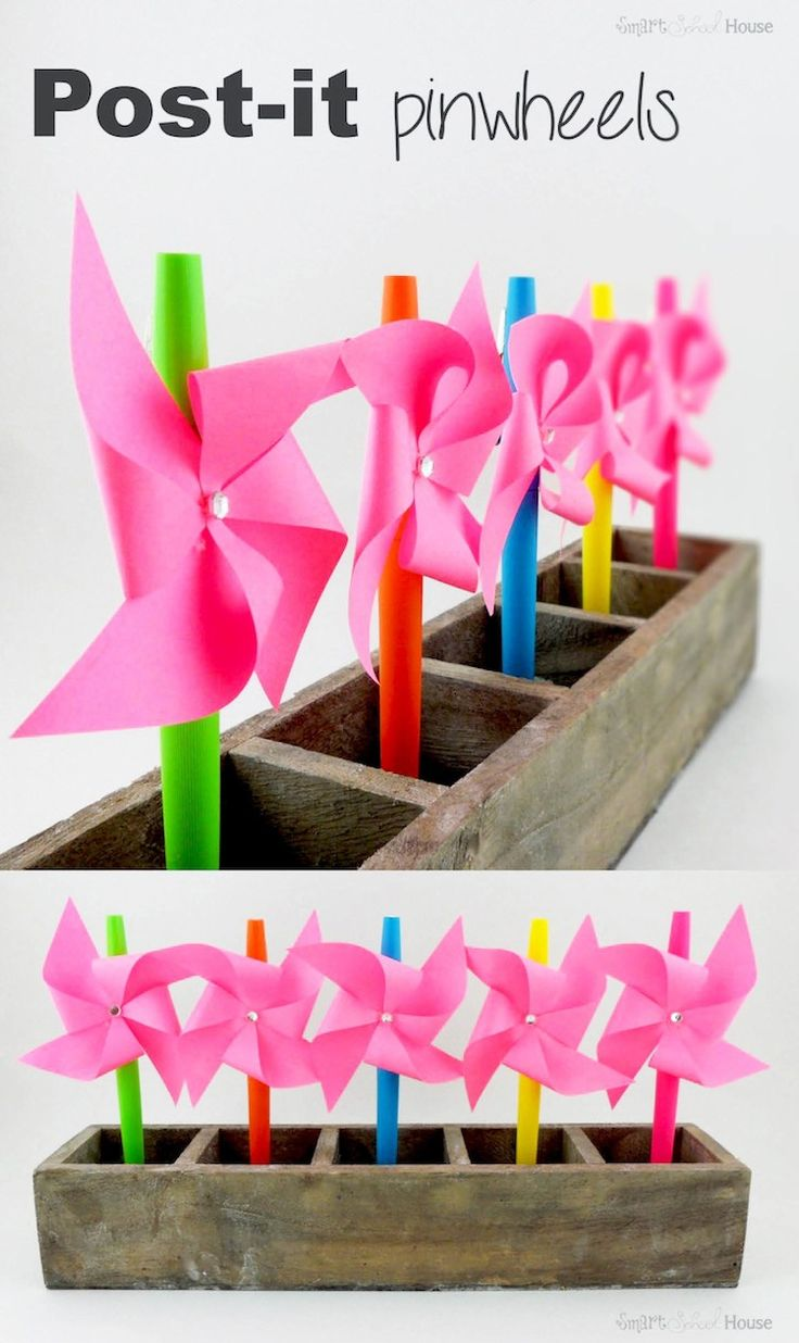 How to make Post-it Pinwheels! I can't believe how cute and easy this little DIY craft is!