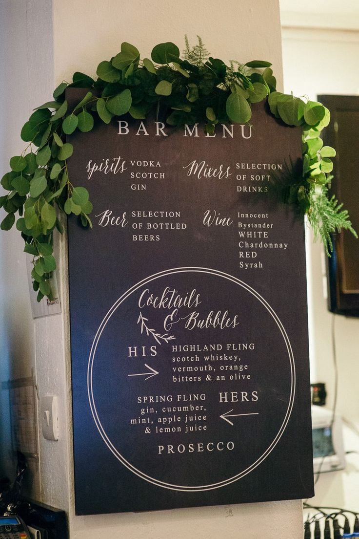 Sign Black Board Greenery Modern Natural Pink Metallic Wedding http://photosbyzoe.co.uk/