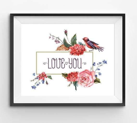 Birds flowers Illustration Love you Print Love You painting