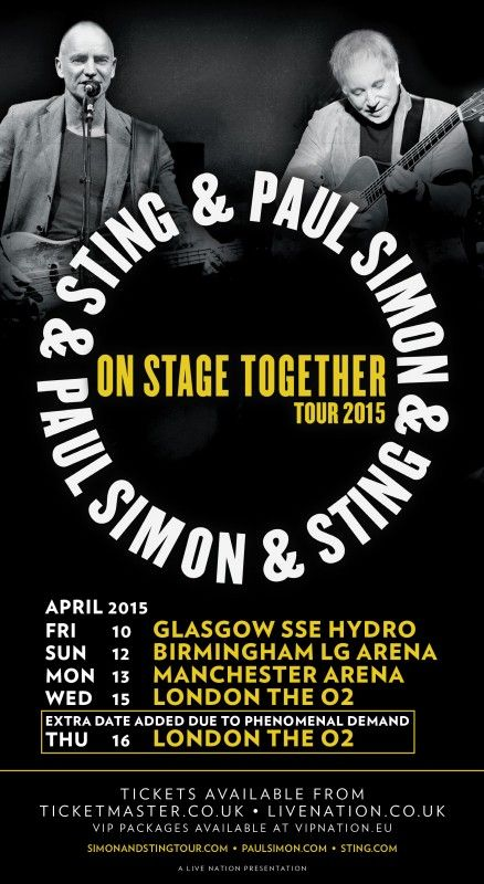 #Music legends #PaulSimon and #Sting are joining forces for their critically-acclaimed On Stage Together tour with five dates in the UK set for next April The duo and long-time friends will play more than 30 of their greatest hits during their On Stage Together  tour, including Boy in the Bubble,Fields of Gold, Mother & Child Reunion, Every Breath You Take, The Boxer and Diamonds on The Sole of Her Shoes. The UK tour kicks off on 7th April 2015 Tickets are available from…