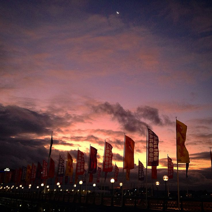 New moon and sunset over darling harbour ❤️