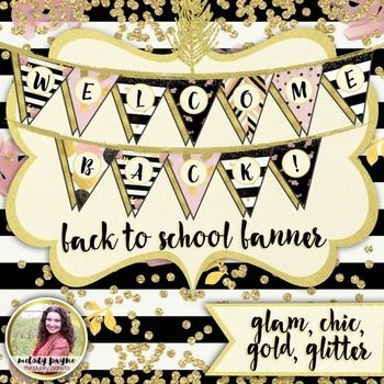 "Welcome your students to your classroom in style with this fun back to school banner! Glamorous backgrounds with beautiful gold glitter labels are featured, and you'll have all the letters you need to spell ""Welcome Back!"" in gorgeous chic and glam colors (variations of gold, black, white, and pink)."