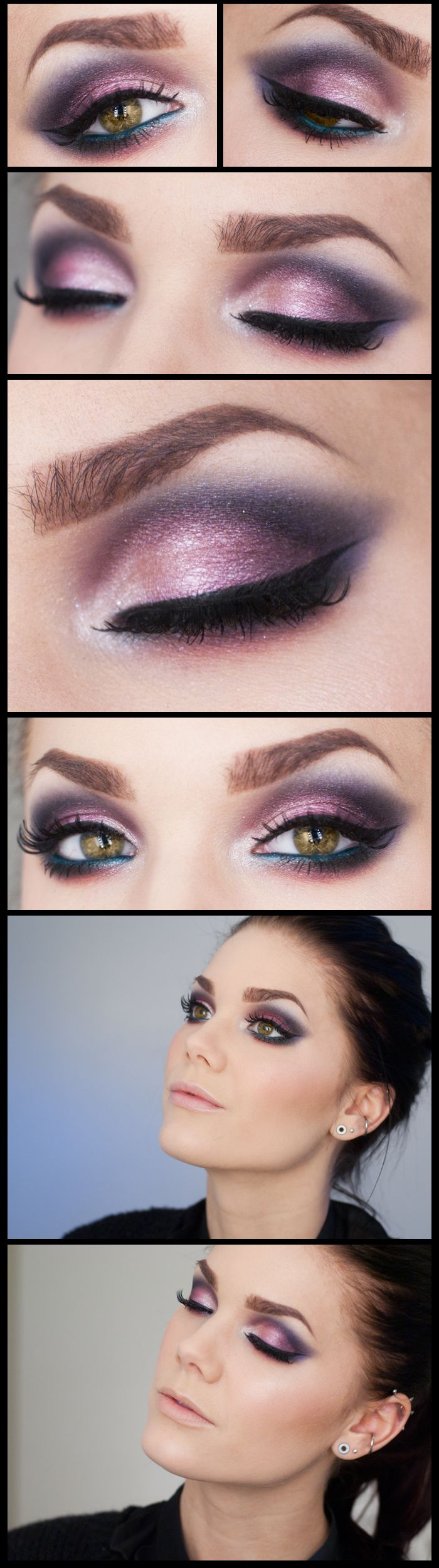 Shimmery pink purple and blue eyeshadow look, black winged eyeliner, and light nude lip. Look created by makeup artist Linda Hallberg. Bright and dramatic, great for a party, club, or girls night out and works in spring summer fall and winter.