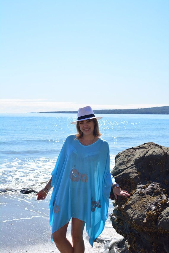 Turquoise free flowing beach kaftan with silver by khokhobay
