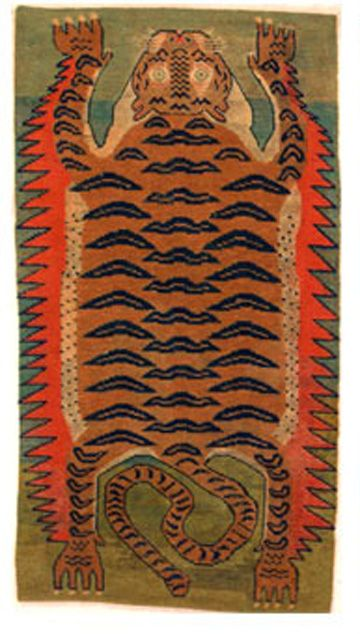 Carpet of Tiger-skin Design  Date:     ca. 19th century Culture:     China for Tibet Medium:     Wool, cotton, and dye Dimensions:     Overall: 70 1/8 x 35 in. (178.1 x 88.9 cm) Classification:     Textiles Credit Line:     Lent by Anthony d'Offay Rights and Reproduction:     Photograph © Rossi  Rossi