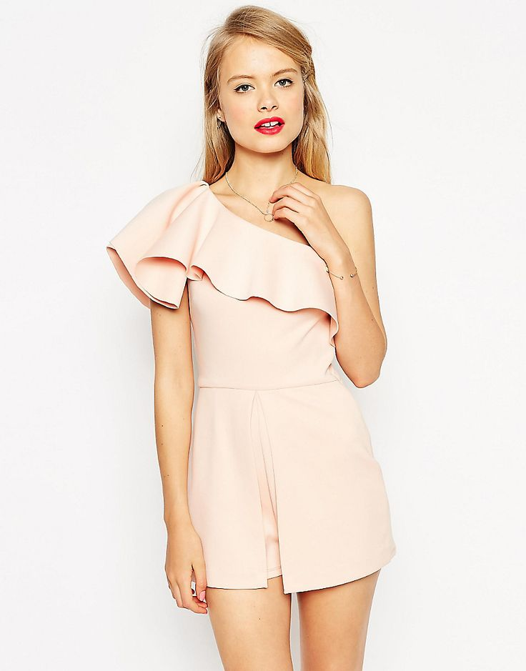 ASOS+Occasion+Playsuit+with+One+Shoulder+Ruffle