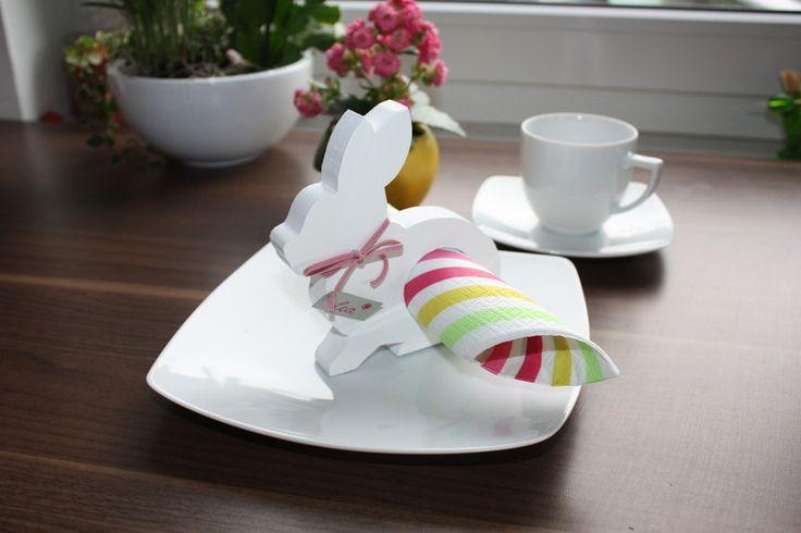 Serviettenhalter & Eierbecher Hase, 4er-Set, weiß // napkin holder & egg cup, rabbit, bunny, white via DaWanda.com