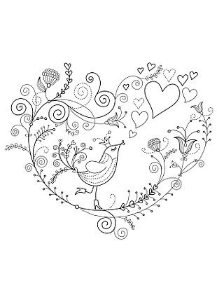Doodle Bird ~ Cute design for a moderate twist on a vintage classic of birds and flowers...that sounds sophisticated. Lol, birdies! <3