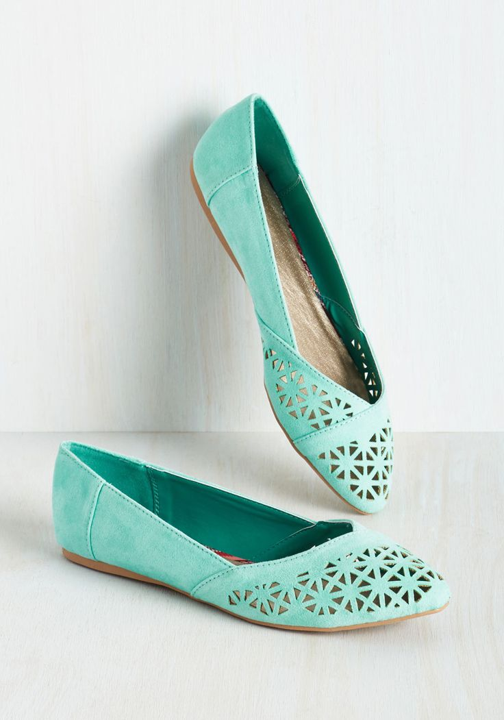 Size 8.5 Show signs of wear Down the Bright Path Flat in Aqua, #ModCloth