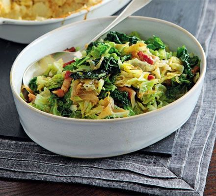 Cabbage with bacon & onions  http://www.bbcgoodfood.com/recipes/1771635/cabbage-with-bacon-and-onions#