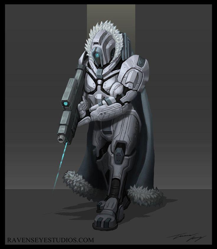 Sci fi arctic bounty hunter by RavenseyeTravisLacey