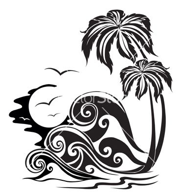 Waves a silhouette vector art - Download Wave vectors - 25480