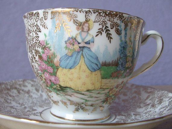 vintage English tea cup and saucer set, Colclough bone china tea cup, gold tea set, southern belle victorian woman, garden