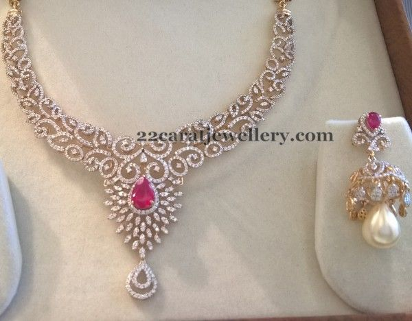 4 lakhs Diamond Set by Mahalaxmi Jewellers - Jewellery Designs