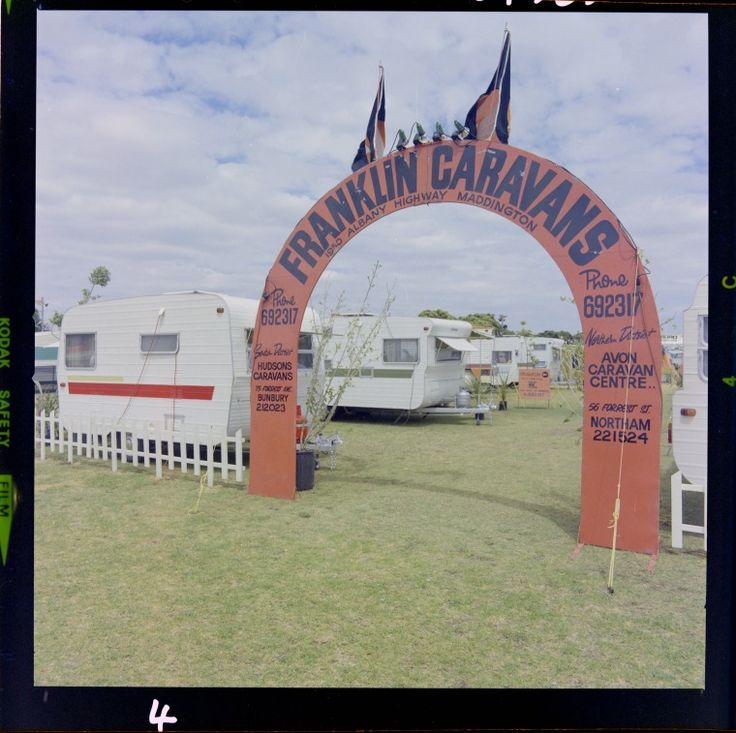 327630PD: Display for Franklin Caravans at a caravan and camping show, Perth, 4 March 1975 https://encore.slwa.wa.gov.au/iii/encore/record/C__Rb3104356