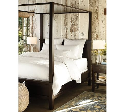 The farmhouse canopy bed I want to badly for our master bedroom... I've always dreamed of a four poster bed with curtains.