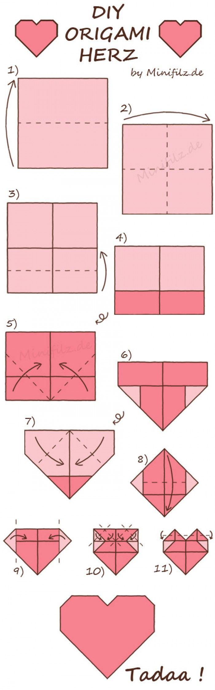 Origami Herz zum Falten für den Valentinstag. Noch mehr Ideen gibt es auf www.Spaaz.de