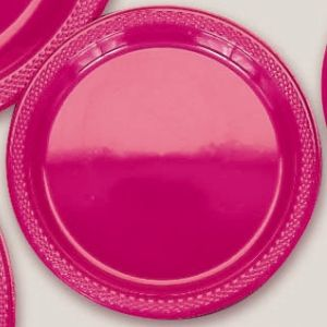 "Plastic Magenta Dinner Plates. Plastic 10.25"" Dinner Plates Solid ColoursThere are 20 Plastic Dinner Plates per package. They are a LARGE 10.25 inches and come in 22 colours to suit any theme or event. This is a great item if you require a large plate that is stronger than paper."