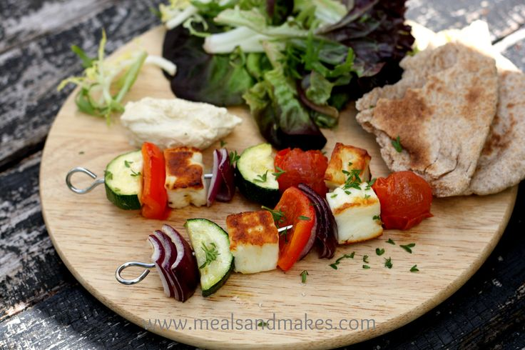 Halloumi kebabs.  Delicious cooked on the BBQ or can be grilled if the weather is not so good.  Ideal family food.