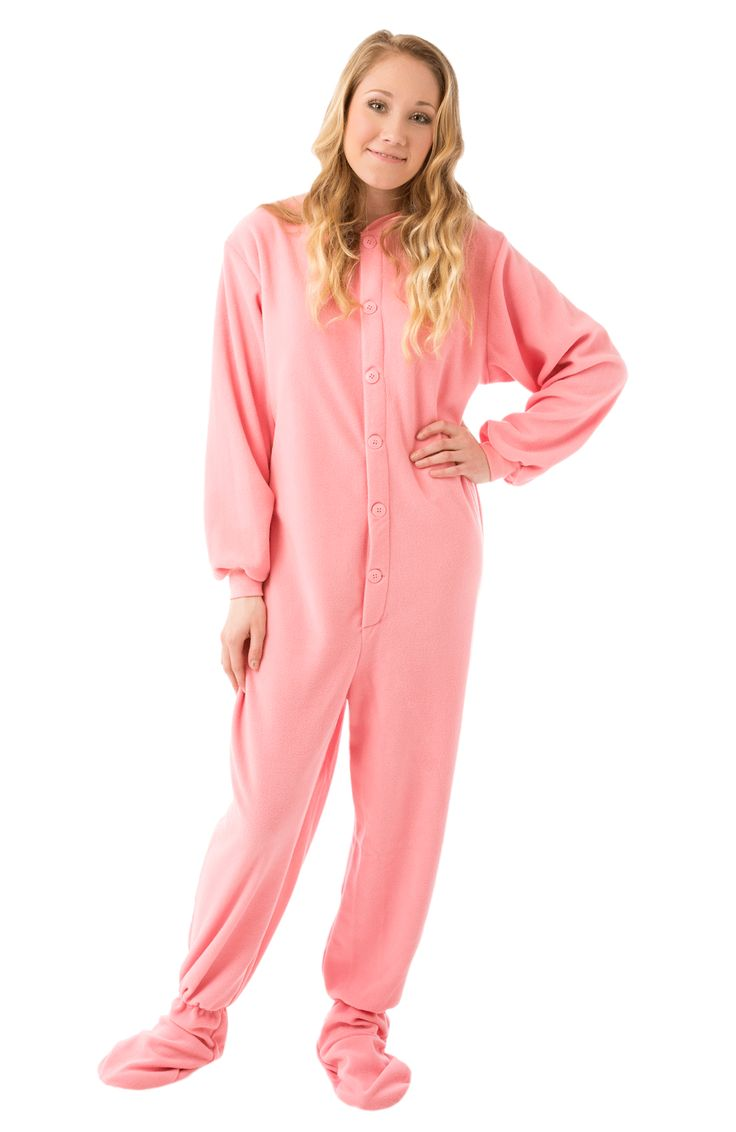 Big Feet Pjs Pink Footed Pajamas for Women - Stay warm and cozy on chilly nights in these fleece, footed pajamas by Big Feet PJs. They will keep you toasty and comfy. We are have matching footed pjs for girls.