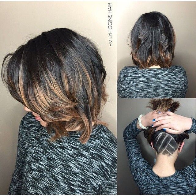 #mulpix Gorgeous Wavy Bob & Cool Undercut Nape  Hair By @emilyhiggins.hair  …