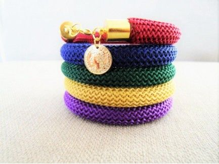 Rope Bracelet with Coin Charm